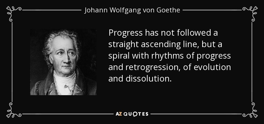 Progress has not followed a straight ascending line, but a spiral with rhythms of progress and retrogression, of evolution and dissolution. - Johann Wolfgang von Goethe
