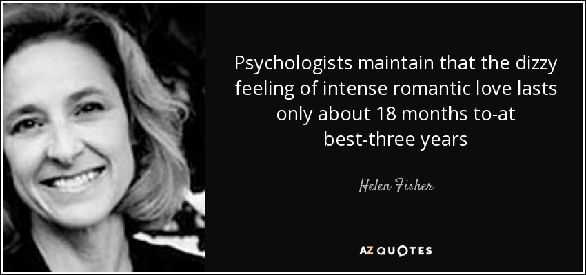 Psychologists maintain that the dizzy feeling of intense romantic love lasts only about 18 months to-at best-three years - Helen Fisher