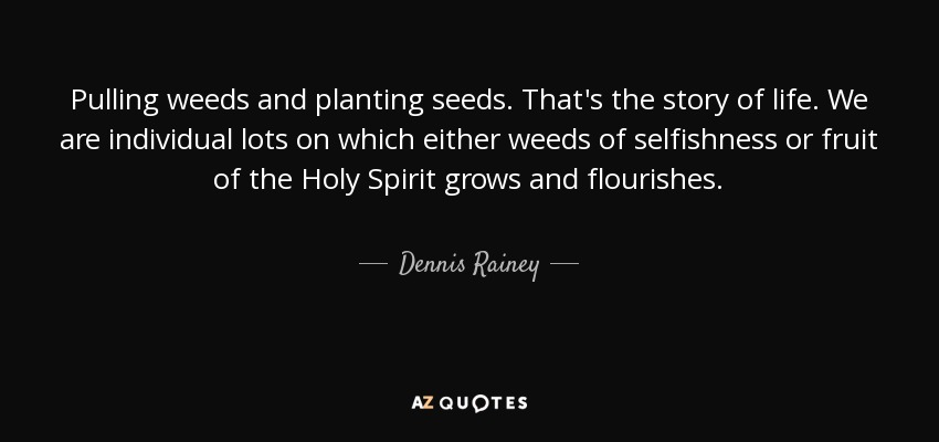 Pulling Weeds And Planting Seeds. Thatu0027s The Story Of Life. We Are  Individual Lots