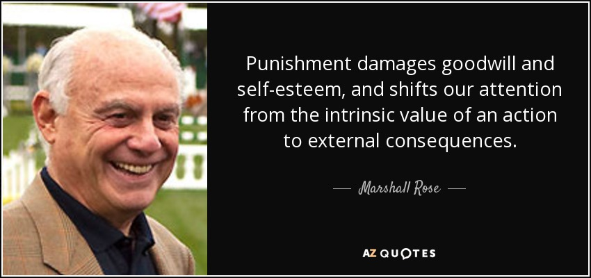 Punishment damages goodwill and self-esteem, and shifts our attention from the intrinsic value of an action to external consequences. - Marshall Rose