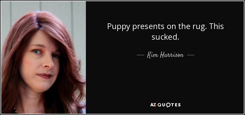 Puppy presents on the rug. This sucked. - Kim Harrison