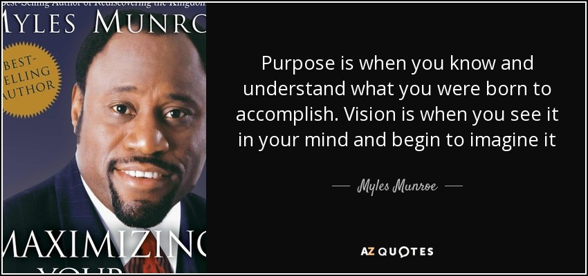 Myles Munroe Quote: Purpose Is When You Know And