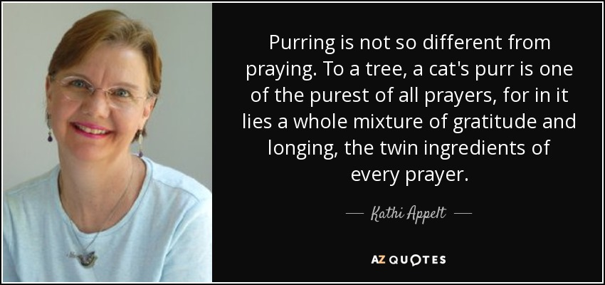 Purring is not so different from praying. To a tree, a cat's purr is one of the purest of all prayers, for in it lies a whole mixture of gratitude and longing, the twin ingredients of every prayer. - Kathi Appelt