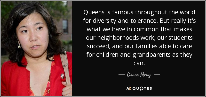 Queens is famous throughout the world for diversity and tolerance. But really it's what we have in common that makes our neighborhoods work, our students succeed, and our families able to care for children and grandparents as they can. - Grace Meng