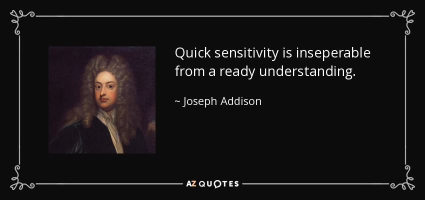 Quick sensitivity is inseperable from a ready understanding. - Joseph Addison