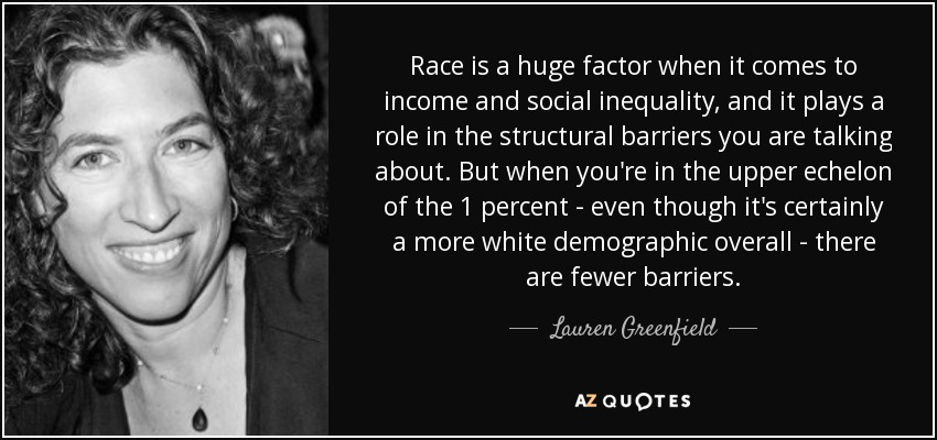 Race is a huge factor when it comes to income and social inequality, and it plays a role in the structural barriers you are talking about. But when you're in the upper echelon of the 1 percent - even though it's certainly a more white demographic overall - there are fewer barriers. - Lauren Greenfield