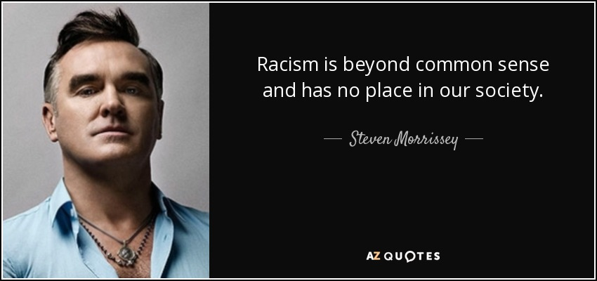 Racism is beyond common sense and has no place in our society. - Steven Morrissey