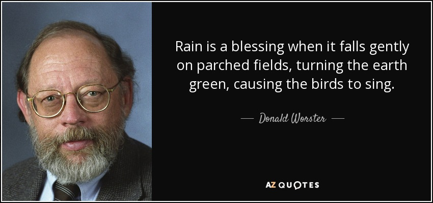 Rain is a blessing when it falls gently on parched fields, turning the earth green, causing the birds to sing. - Donald Worster