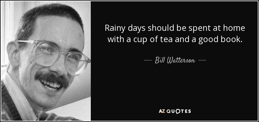 Rainy days should be spent at home with a cup of tea and a good book. - Bill Watterson