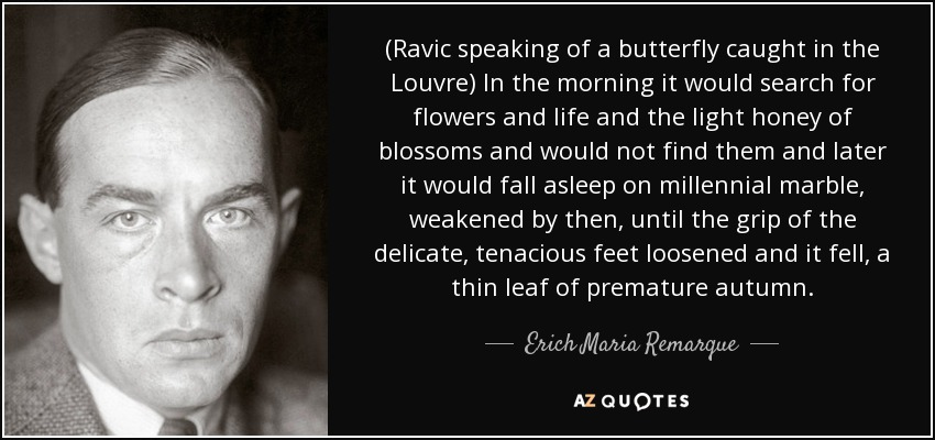 (Ravic speaking of a butterfly caught in the Louvre) In the morning it would search for flowers and life and the light honey of blossoms and would not find them and later it would fall asleep on millennial marble, weakened by then, until the grip of the delicate, tenacious feet loosened and it fell, a thin leaf of premature autumn. - Erich Maria Remarque
