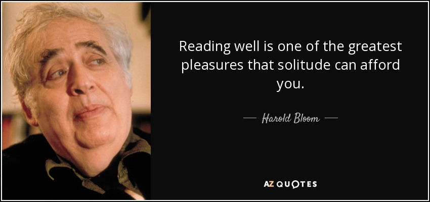 Reading well is one of the greatest pleasures that solitude can afford you. - Harold Bloom