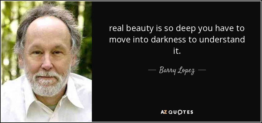 real beauty is so deep you have to move into darkness to understand it. - Barry Lopez