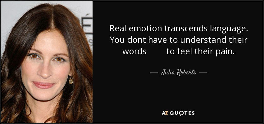 Real emotion transcends language. You dont have to understand their words to feel their pain. - Julia Roberts