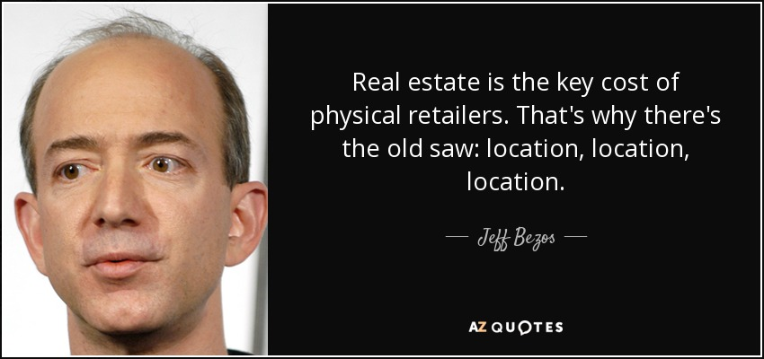 Jeff Bezos Quote Real Estate Is The Key Cost Of Physical