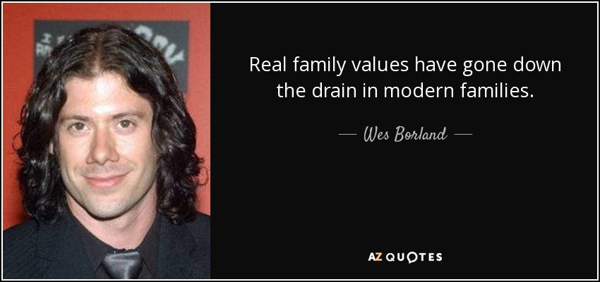 Real family values have gone down the drain in modern families. - Wes Borland