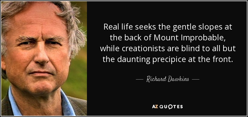 Real life seeks the gentle slopes at the back of Mount Improbable, while creationists are blind to all but the daunting precipice at the front. - Richard Dawkins