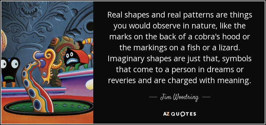 Real shapes and real patterns are things you would observe in nature, like the marks on the back of a cobra's hood or the markings on a fish or a lizard. Imaginary shapes are just that, symbols that come to a person in dreams or reveries and are charged with meaning. - Jim Woodring