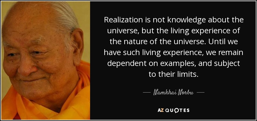 Realization is not knowledge about the universe, but the living experience of the nature of the universe. Until we have such living experience, we remain dependent on examples, and subject to their limits. - Namkhai Norbu