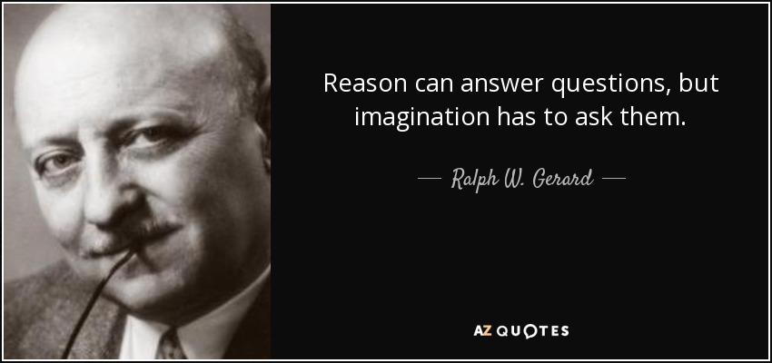Reason can answer questions, but imagination has to ask them. - Ralph W. Gerard