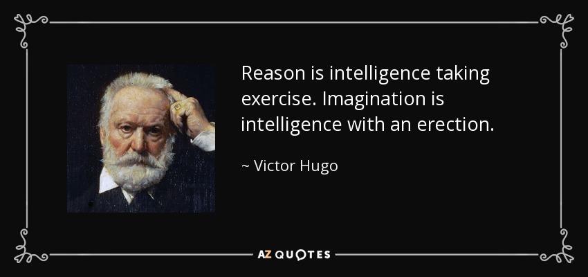 Reason is intelligence taking exercise. Imagination is intelligence with an erection. - Victor Hugo