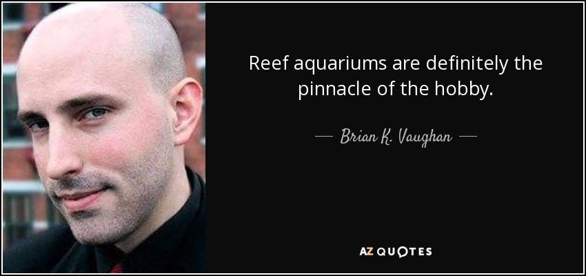 Reef aquariums are definitely the pinnacle of the hobby. - Brian K. Vaughan