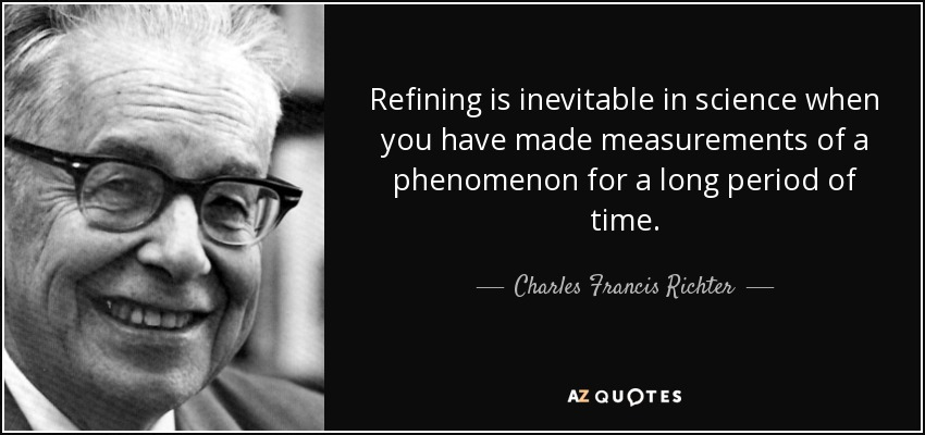 Refining is inevitable in science when you have made measurements of a phenomenon for a long period of time. - Charles Francis Richter