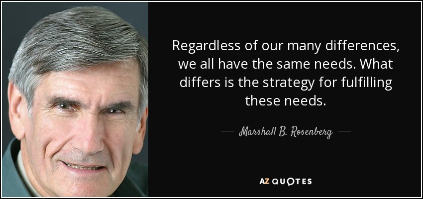 Regardless of our many differences, we all have the same needs. What differs is the strategy for fulfilling these needs. - Marshall B. Rosenberg