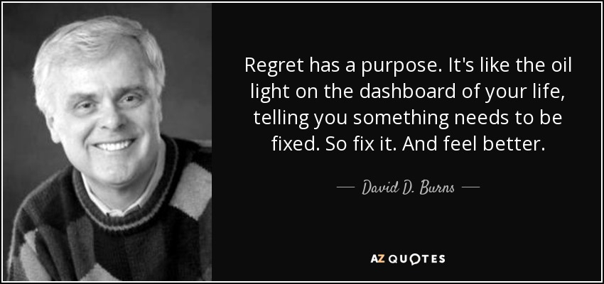 Regret has a purpose. It's like the oil light on the dashboard of your life, telling you something needs to be fixed. So fix it. And feel better. - David D. Burns