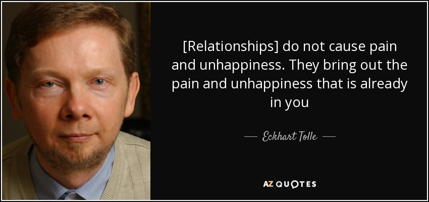 [Relationships] do not cause pain and unhappiness. They bring out the pain and unhappiness that is already in you - Eckhart Tolle