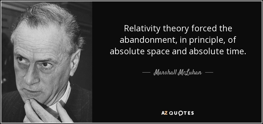 Relativity theory forced the abandonment, in principle, of absolute space and absolute time. - Marshall McLuhan