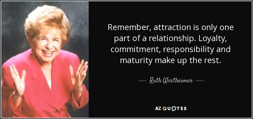 Remember, attraction is only one part of a relationship. Loyalty, commitment, responsibility and maturity make up the rest. - Ruth Westheimer