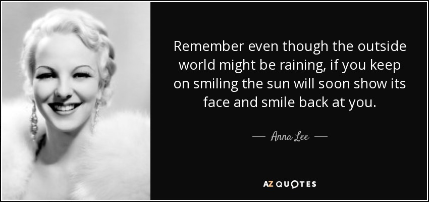 Anna Lee Quote Remember Even Though The Outside World Might Be