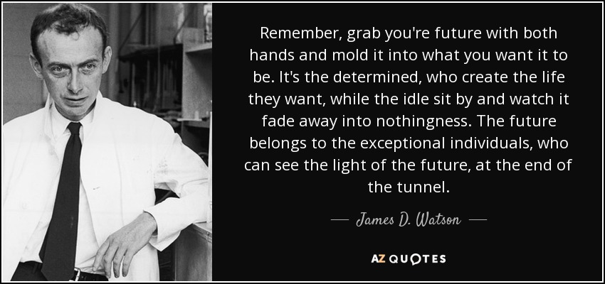 Remember, grab you're future with both hands and mold it into what you want it to be. It's the determined, who create the life they want, while the idle sit by and watch it fade away into nothingness. The future belongs to the exceptional individuals, who can see the light of the future, at the end of the tunnel. - James D. Watson