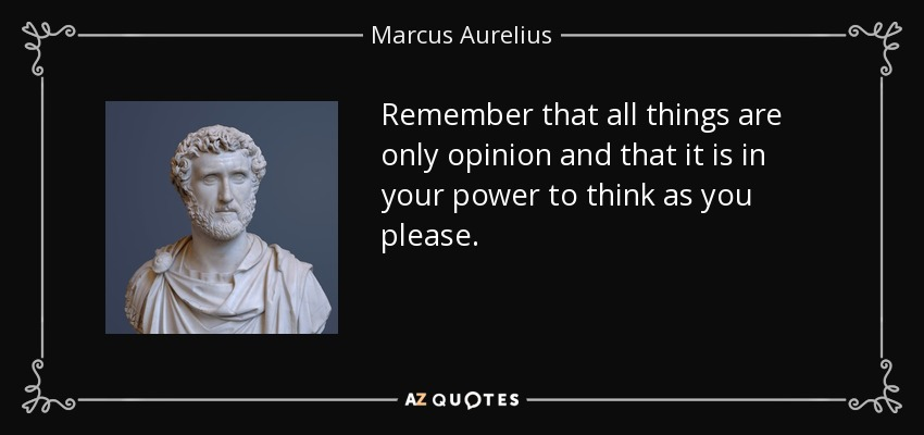 Remember that all things are only opinion and that it is in your power to think as you please. - Marcus Aurelius