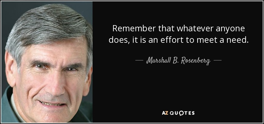 Remember that whatever anyone does, it is an effort to meet a need. - Marshall B. Rosenberg
