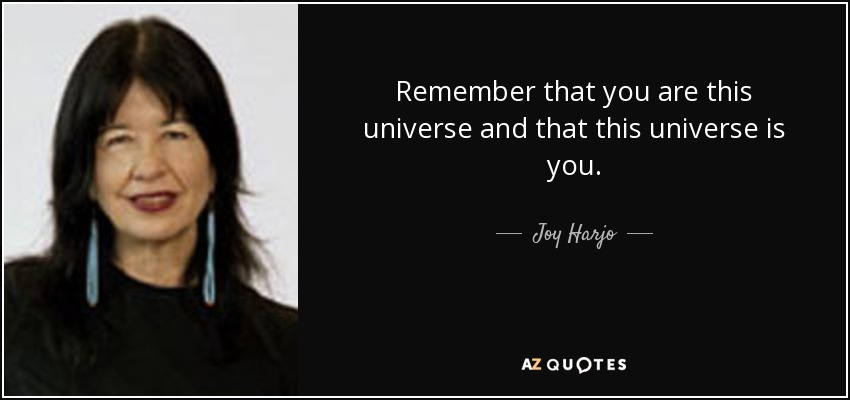 Remember that you are this universe and that this universe is you. - Joy Harjo