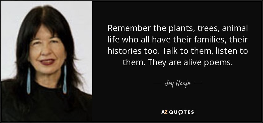 Remember the plants, trees, animal life who all have their families, their histories too. Talk to them, listen to them. They are alive poems. - Joy Harjo