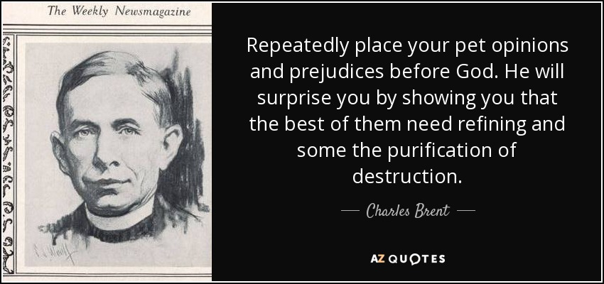 Repeatedly place your pet opinions and prejudices before God. He will surprise you by showing you that the best of them need refining and some the purification of destruction. - Charles Brent