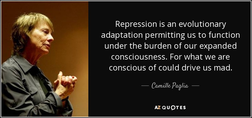 Repression is an evolutionary adaptation permitting us to function under the burden of our expanded consciousness. For what we are conscious of could drive us mad. - Camille Paglia