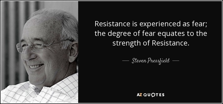 Resistance is experienced as fear; the degree of fear equates to the strength of Resistance. - Steven Pressfield
