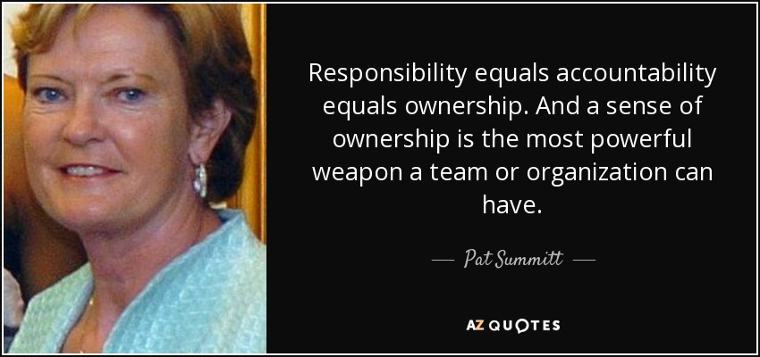 Accountability Quotes New Pat Summitt Quote Responsibility Equals Accountability Equals