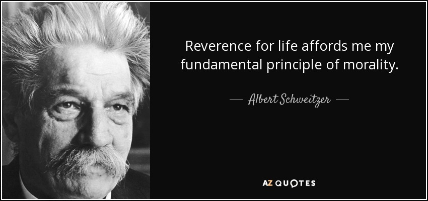 Reverence for life affords me my fundamental principle of morality. - Albert Schweitzer