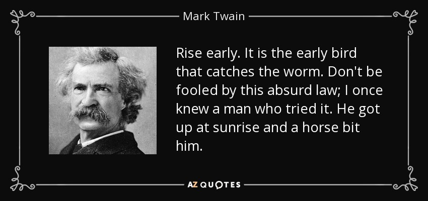 Rise early. It is the early bird that catches the worm. Don't be fooled by this absurd law; I once knew a man who tried it. He got up at sunrise and a horse bit him. - Mark Twain