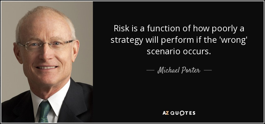 Risk is a function of how poorly a strategy will perform if the 'wrong' scenario occurs. - Michael Porter