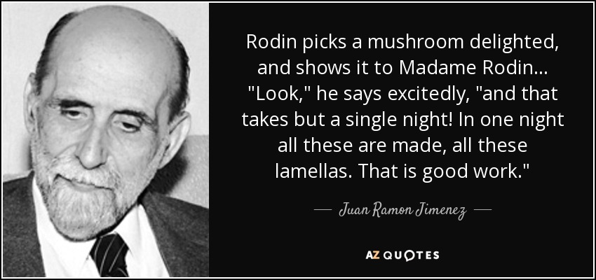 Rodin picks a mushroom delighted, and shows it to Madame Rodin...