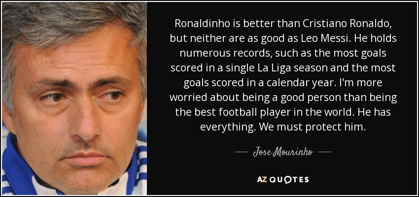 Ronaldinho is better than Cristiano Ronaldo, but neither are as good as Leo Messi. He holds numerous records, such as the most goals scored in a single La Liga season and the most goals scored in a calendar year. I'm more worried about being a good person than being the best football player in the world. He has everything. We must protect him. - Jose Mourinho