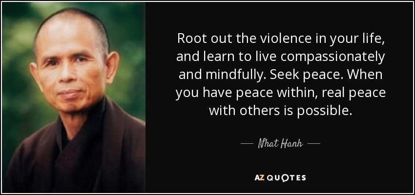 Root out the violence in your life, and learn to live compassionately and mindfully. Seek peace. When you have peace within, real peace with others is possible. - Nhat Hanh