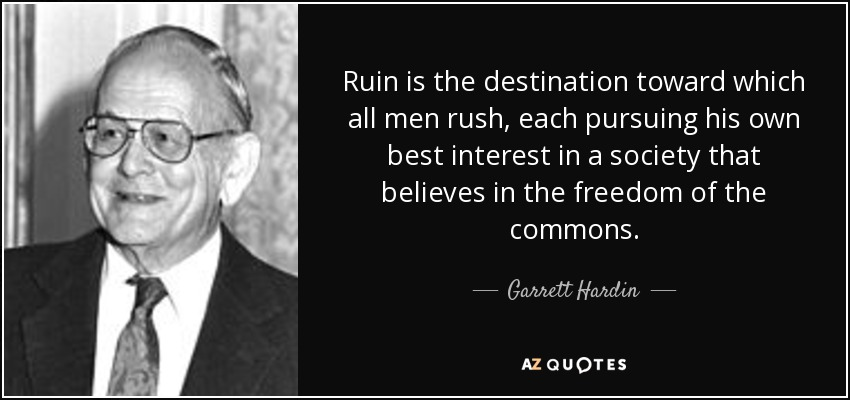 Ruin is the destination toward which all men rush, each pursuing his own best interest in a society that believes in the freedom of the commons. - Garrett Hardin