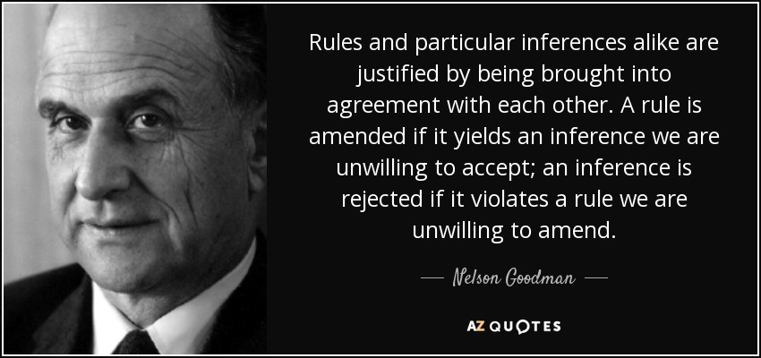 Rules and particular inferences alike are justified by being brought into agreement with each other. A rule is amended if it yields an inference we are unwilling to accept; an inference is rejected if it violates a rule we are unwilling to amend. - Nelson Goodman