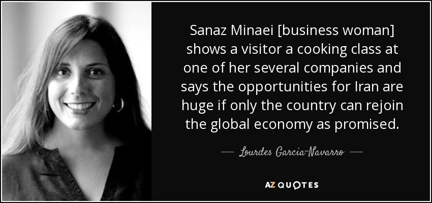 Sanaz Minaei [business woman] shows a visitor a cooking class at one of her several companies and says the opportunities for Iran are huge if only the country can rejoin the global economy as promised. - Lourdes Garcia-Navarro